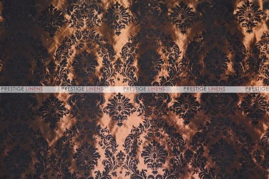 Flocking Damask Taffeta - Fabric by the yard - Brown/Black