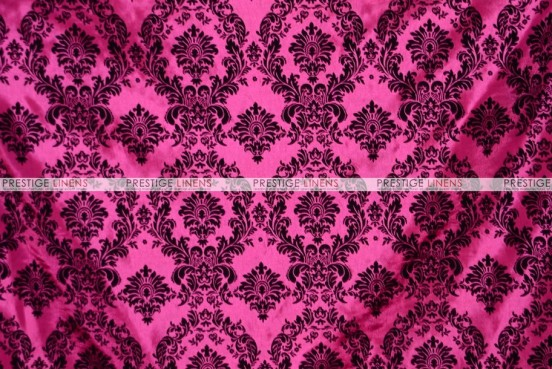 Flocking Damask Taffeta - Fabric by the yard - Hot Pink/Black