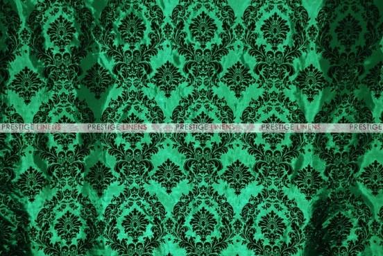 Flocking Damask Taffeta - Fabric by the yard - Hunter/Black