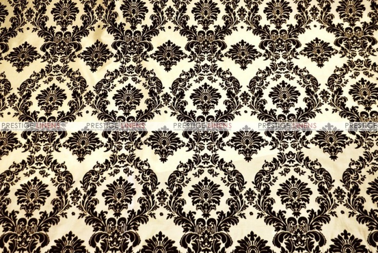 Flocking Damask Taffeta - Fabric by the yard - Ivory/Black