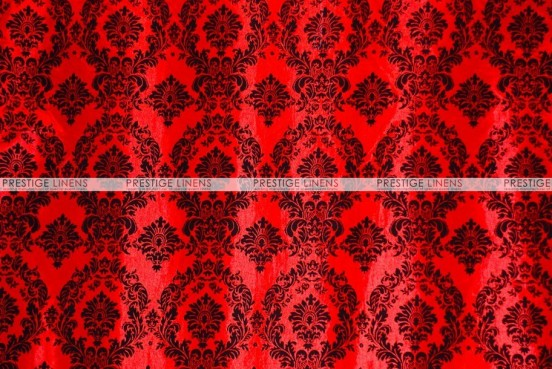 Flocking Damask Taffeta - Fabric by the yard - Red/Black