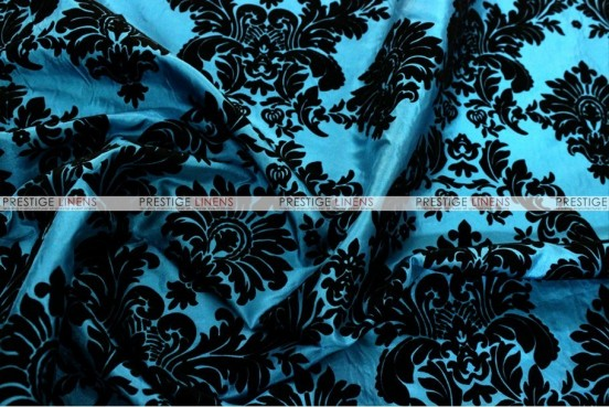 Flocking Damask Taffeta - Fabric by the yard - Teal/Black