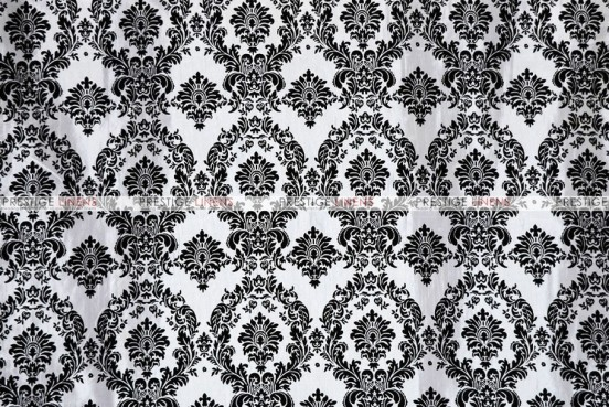 Flocking Damask Taffeta - Fabric by the yard - White/Black