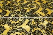 Flocking Damask Taffeta - Fabric by the yard - Yellow/Black