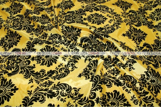 Flocking Damask Taffeta - Fabric by the yard - Yellow/Black ...