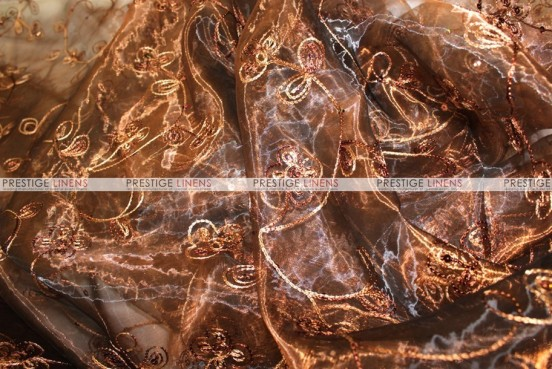 Floral Sequins Organza - Fabric by the yard - Brown