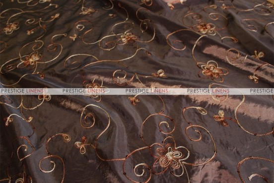 Floral Sequins Taffeta - Fabric by the yard - Brown