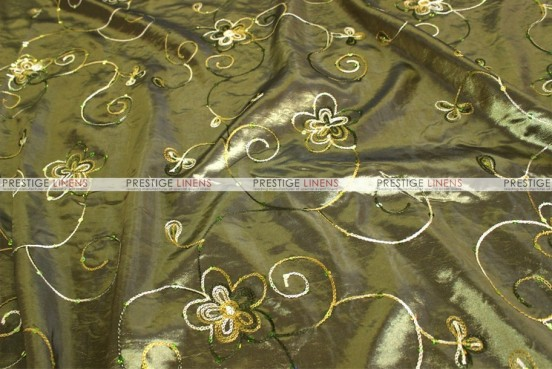 Floral Sequins Taffeta - Fabric by the yard - Olive