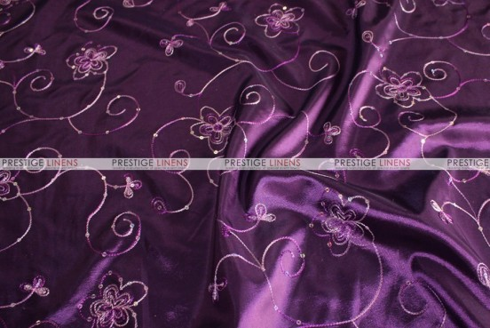 Floral Sequins Taffeta - Fabric by the yard - Plum