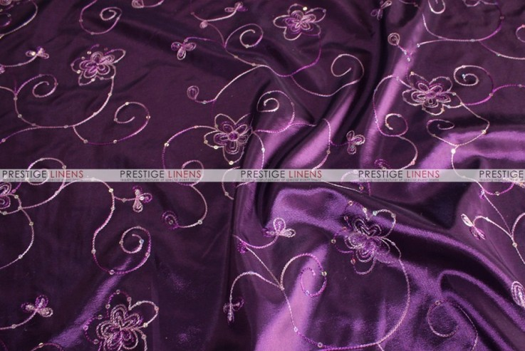 Floral Sequins Taffeta Fabric By The Yard Plum