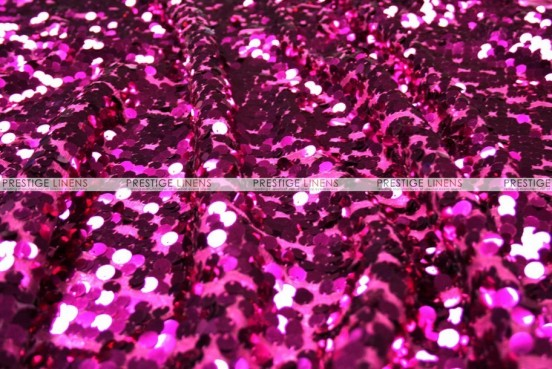 Mesh Sequins Embroidery - Fabric by the yard - Fuchsia