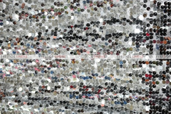 Mesh Sequins Embroidery - Fabric by the yard - Silver
