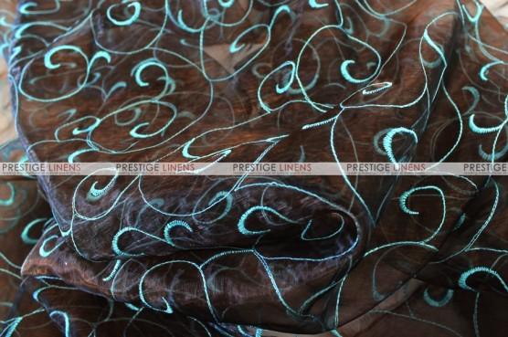 Organza Swirl - Fabric by the yard - Brown/Aqua