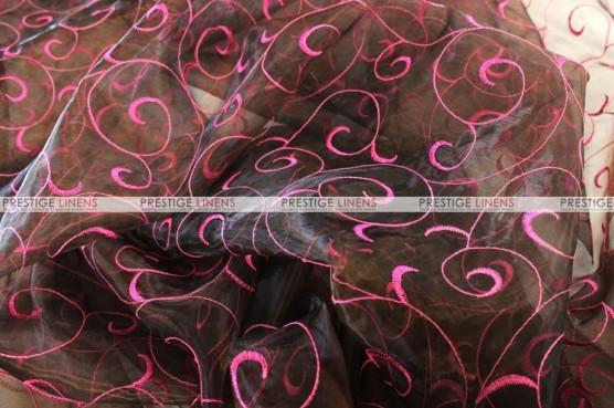 Organza Swirl - Fabric by the yard - Brown/Fuchsia