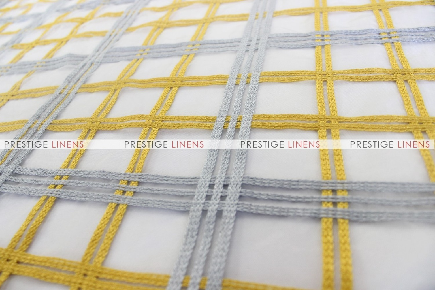 Plaid Sheer Fabric By The Yard Gold Silver Prestige