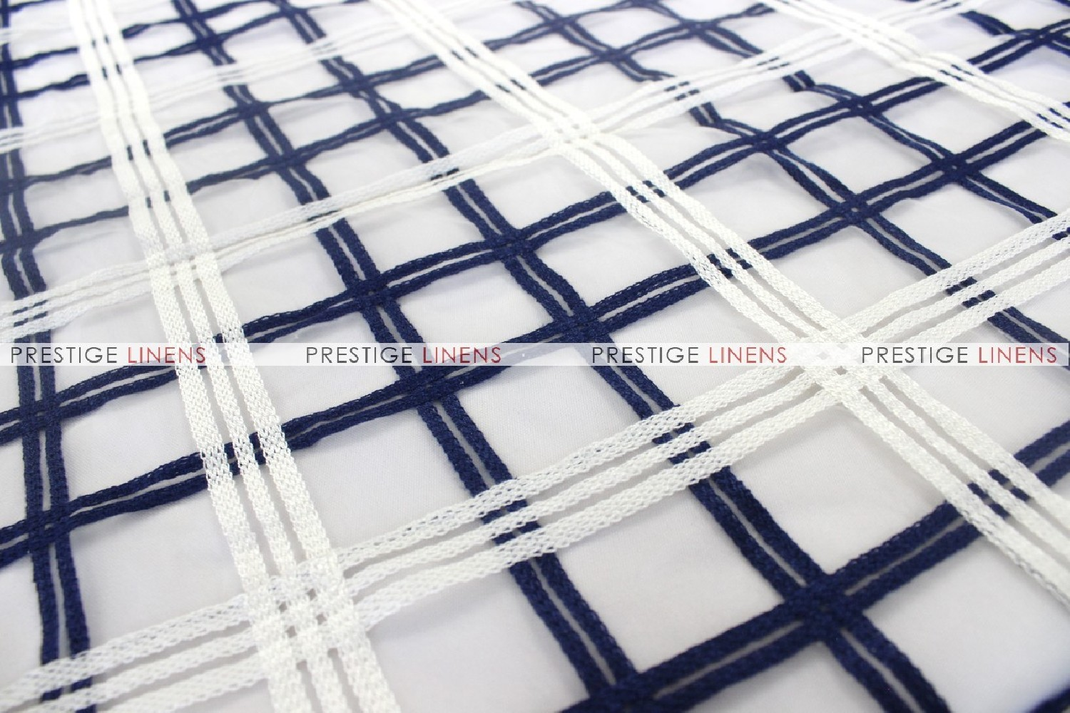 Plaid Sheer - Fabric by the yard - Navy/White - Prestige Linens