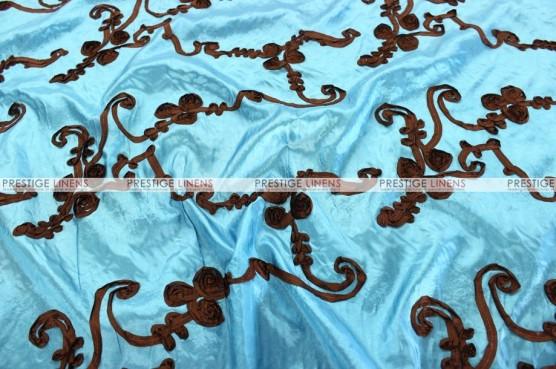 Ribbon Taffeta - Fabric by the yard - Teal/Brown