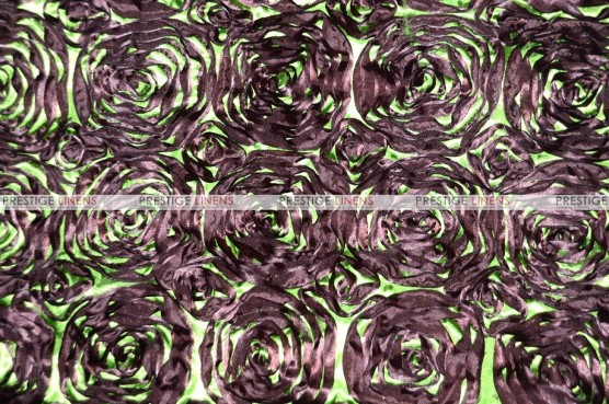 Rosette Satin - Fabric by the yard - Brown/Lime