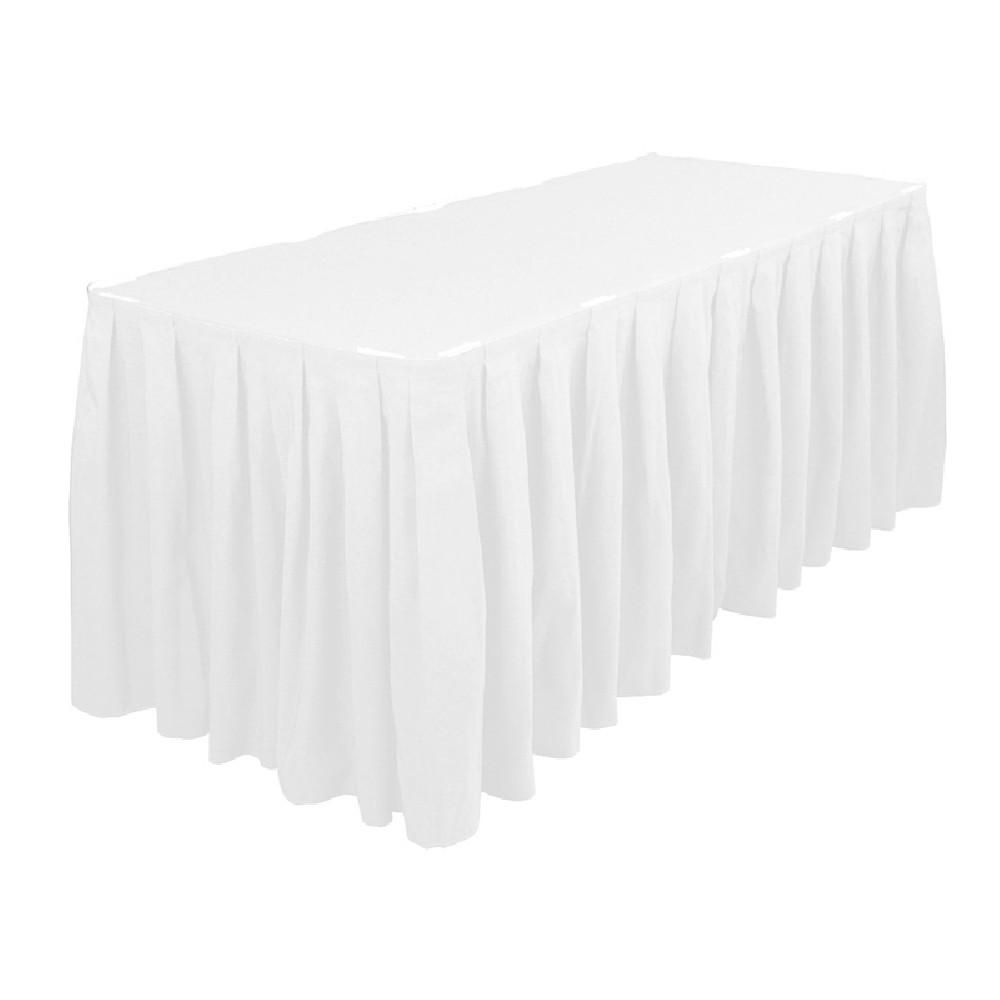 Polyester table skirting 13ft white prestige linens for Table skirting