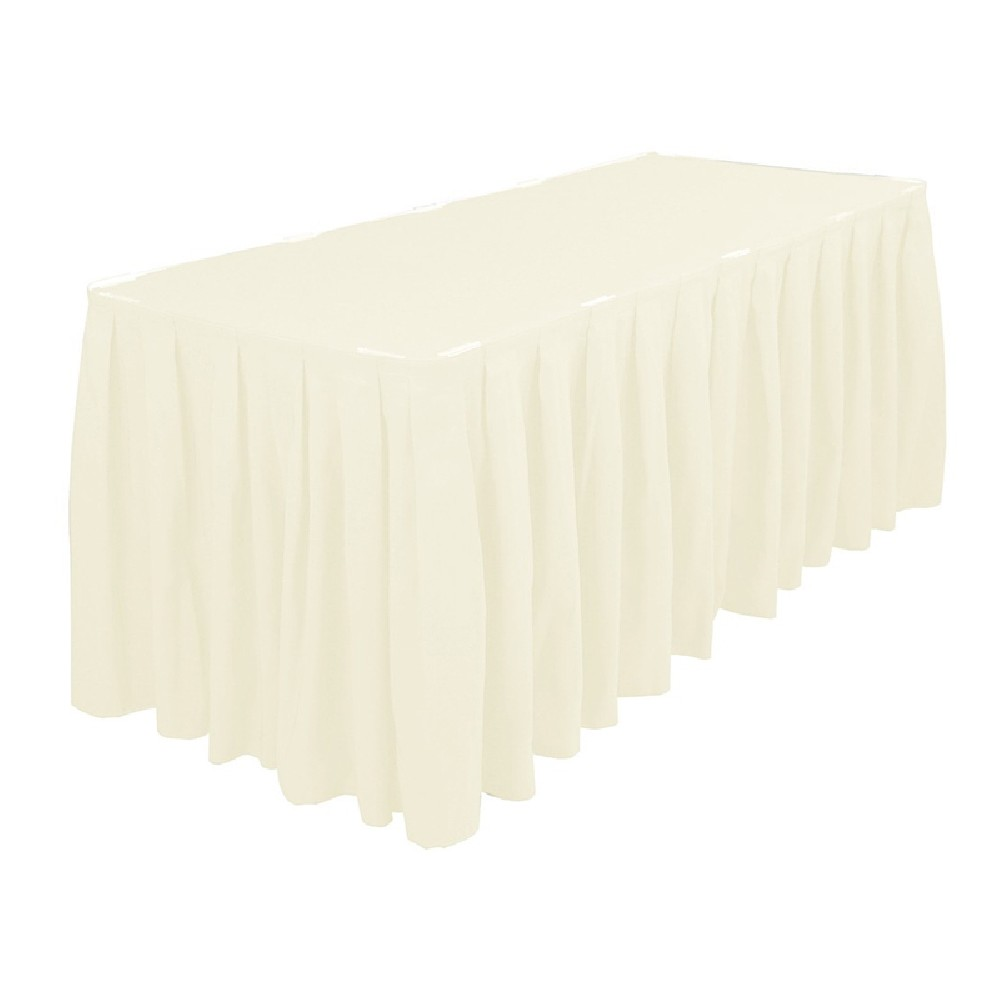 Polyester Table Skirting 13ft Ivory Prestige Linens