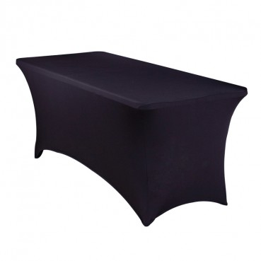 Spandex Tablecloth - 8ft Banquet - Black