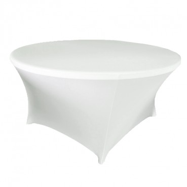 Spandex Tablecloth - 60 Round - White