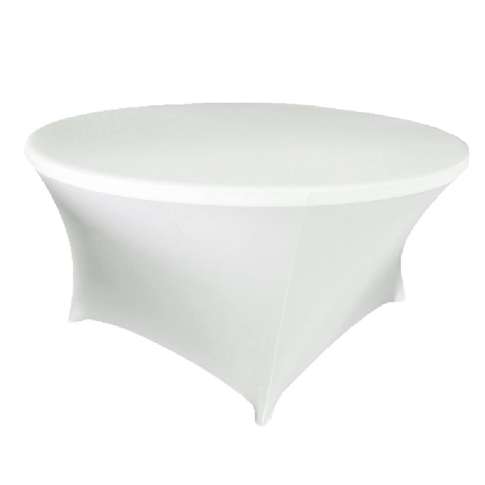 Spandex Tablecloth 60 Round White Prestige Linens