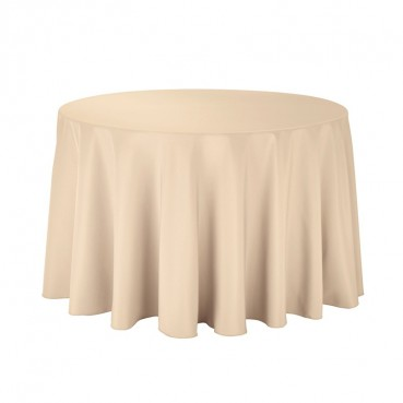 "Polyester Tablecloth - 108"" Round - Beige"