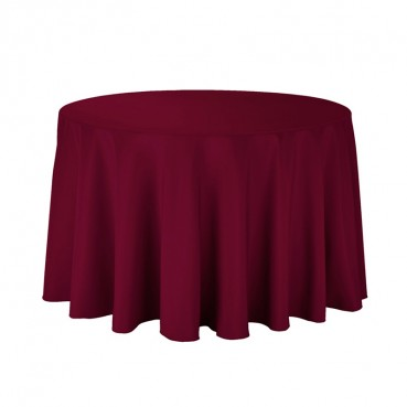 "Polyester Tablecloth - 108"" Round - Burgundy"