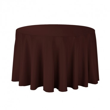"Polyester Tablecloth - 108"" Round - Chocolate"