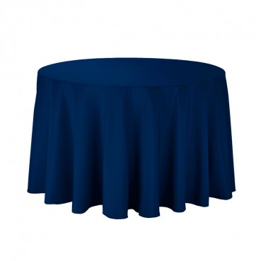 "Polyester Tablecloth - 108"" Round - Navy"