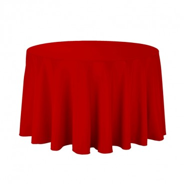 "Polyester Tablecloth - 108"" Round - Red"