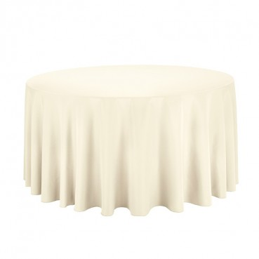 "Polyester Tablecloth - 120"" Round - Ivory"