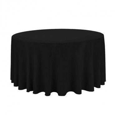 "Polyester Tablecloth - 120"" Round - Black"