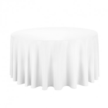 "Polyester Tablecloth - 132"" Round - White"