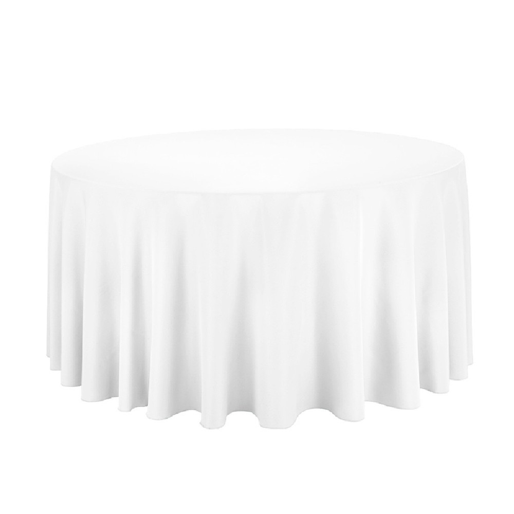 Fine Polyester Tablecloth 132 Round White Beutiful Home Inspiration Ommitmahrainfo