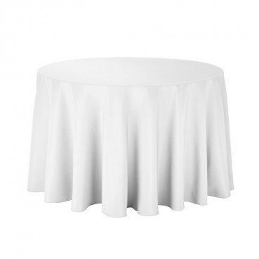 "Polyester Tablecloth - 90"" Round - White"