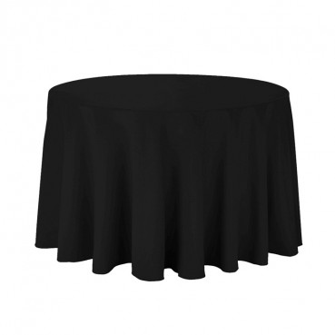 "Polyester Tablecloth - 90"" Round - Black"