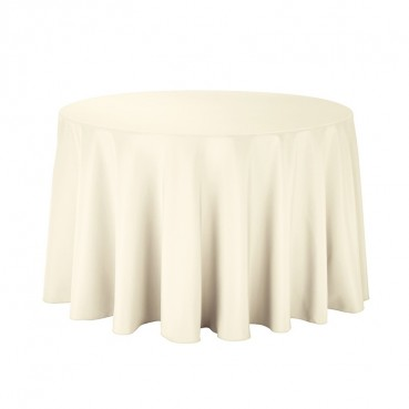 "Polyester Tablecloth - 90"" Round - Ivory"