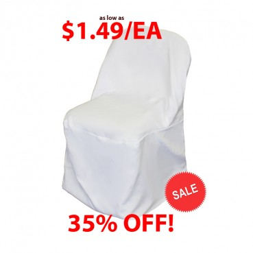Polyester Folding Chair Cover - White