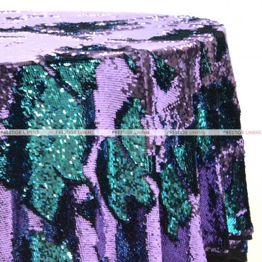 Chameleon Sequins Table Linen - Eggplant Turquoise