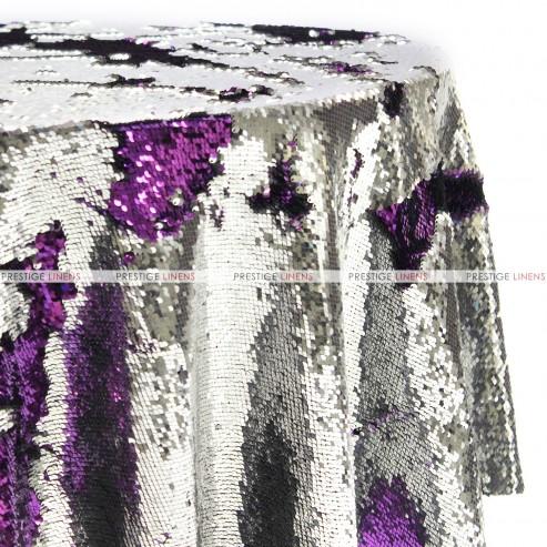 Chameleon Sequins Table Linen Silver Purple Prestige
