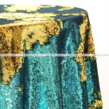 Chameleon Sequins Table Linen - Teal Gold