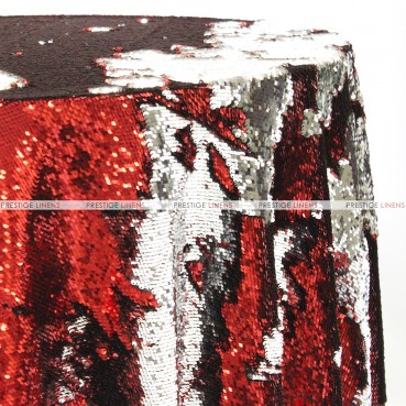 Chameleon Sequins Table Linen - Red Silver