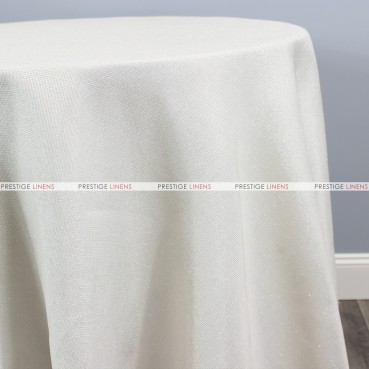 Vintage Linen Metallic Table Linen - Ivory/Silver