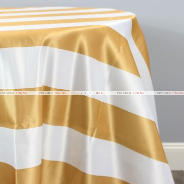 Striped Print Lamour Table Linen-3.5 Inch-Gold
