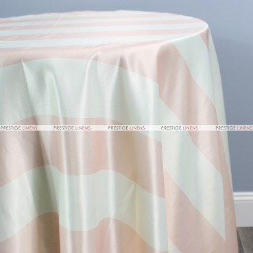 Striped Print Lamour Table Linen-3.5 Inch-Blush/Ivory