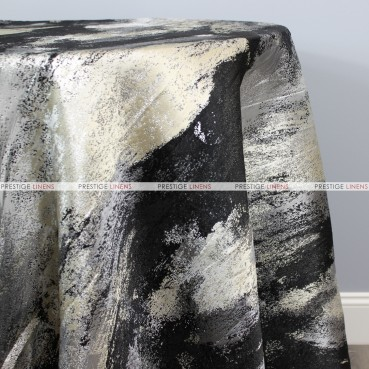 BRUSHSTROKE TABLE LINEN - SILVER/BLACK