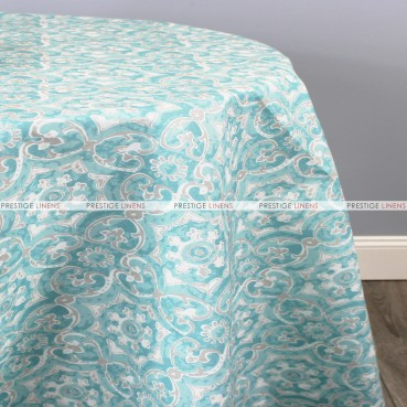 POLY PRINT ATHENS TABLE LINEN - AQUA