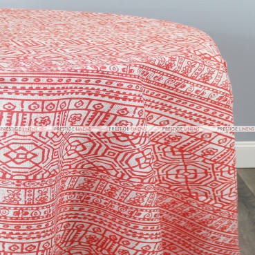 POLY PRINT DEVADA TABLE LINEN - INDIAN CORAL